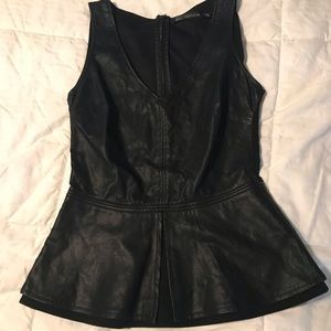 NWOT Zara Faux Leather Peplum Top Size Small